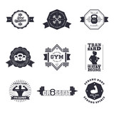 Fototapety Fitness, Gym vintage logos, emblems, signs, badge, labels, with barbells, kettlebell, biceps, athlete