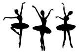 Fototapety Ballerinas black silhouettes, isolated on white