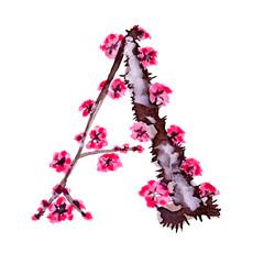 English watercolor alphabet. Isolated on white background