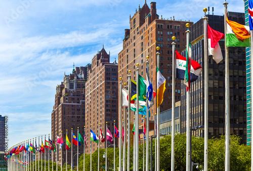 Zdjęcia na płótnie, fototapety, obrazy : United Nations Headquarters with flags of the   members of the U