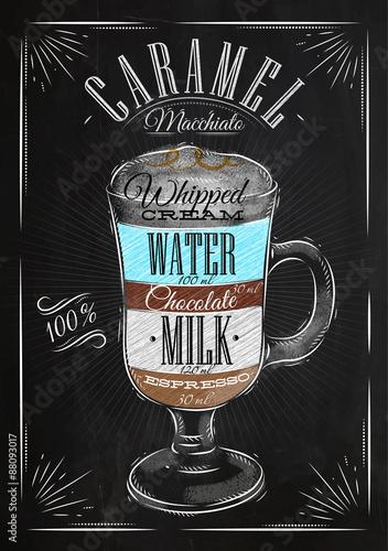 Poster caramel macchiato chalk Poster