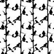 Birds  black and white seamless pattern