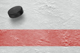 Hockey puck and a red line