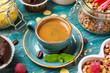 Espresso in a blue bowl
