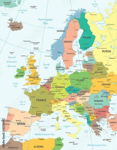Fototapeta Europe map - highly detailed vector illustration.
