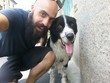 bearded man and his friend pet dog outdoor in the street taking selfie