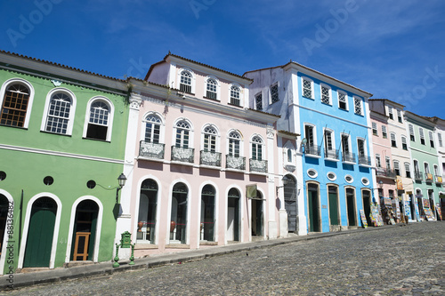 Historic city center of Pelourinho Salvador da Bahia Brazil features colorful co Canvas