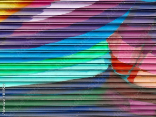 Painted Wall: Colorful Abstract Pattern in Detail of Graffiti