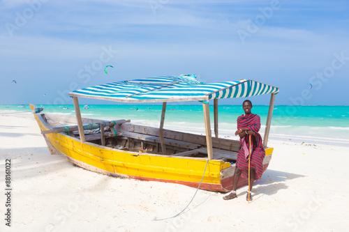 Foto op Plexiglas Zanzibar White tropical sandy beach on Zanzibar.