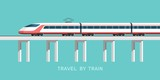 Travel by train. Vector illustration for your design and Infographic template.