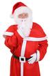 Постер, плакат: Weihnachtsmann Nikolaus hat an Weihnachten ein Geheimnis Freiste