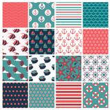 big set of  sixteen marine seamless patterns - 88166625