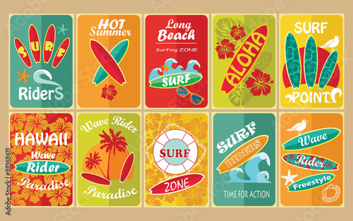 Fotobehang Vintage Poster Set of retro surfing typographical posters for your design.