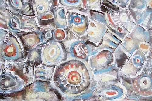 Abstract painting. Background with orange,brown and blue circles on the water. Mountain river, river stones, the movement of water,horizontal picture. Image for interior, as part of wall decorations © liyavihola