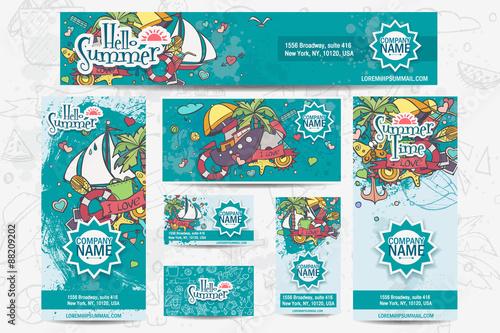 Zdjęcia na płótnie, fototapety, obrazy : Large set of vector corporate templates on a summer theme