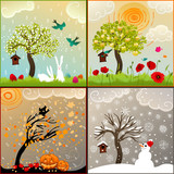 Fototapety four seasons themed illustrations set with tree, birdhouse and s