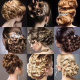 Fototapety Collection of wedding hairstyles. Beautiful girls. Beauty hair.