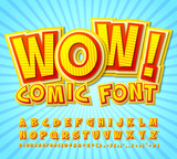 Fototapety Creative high detail yellow-red comic font. Alphabe, comics, pop art.