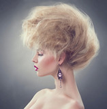 Fototapety High fashion model girl with updo hairstyle