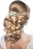 Beautiful  woman in image of the bride. Beauty hair. Hairstyle back view