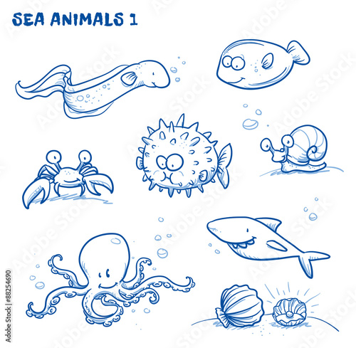 Poster Cute cartoon sea water animals