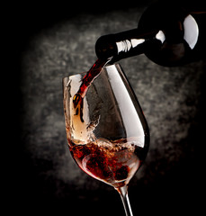 Wine on black background