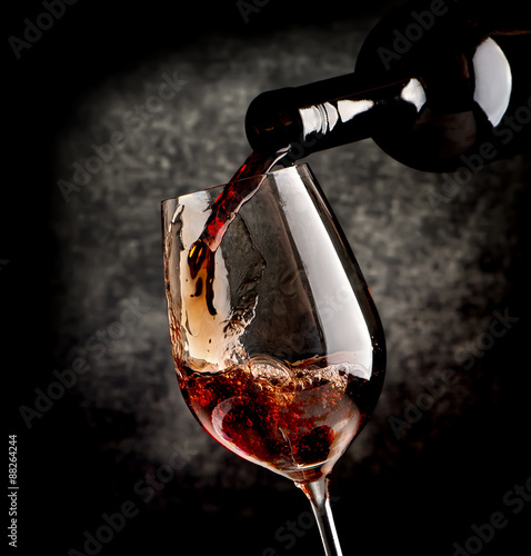 Wine on black background Poster