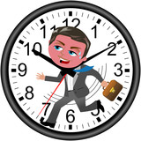 Red faced businessman running against time in a wall clock isolated