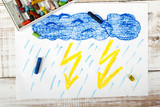 Fototapety colorful drawing: thunderstorm