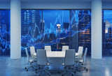 Fototapety Panoramic conference room in modern office, cityscape of New York skyscrapers at night, Manhattan. Financial chart is over the cityscape. White chairs and a white round table. 3D rendering.