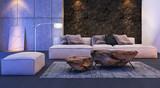 Modern interior design of living room (3d Render)