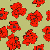 seamless bright ornament with poppies