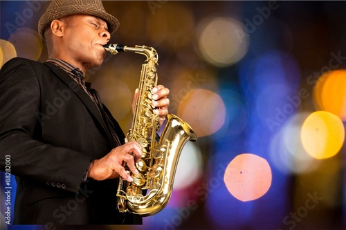 Poster Jazz, Musical Band, Saxophone.