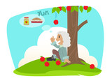 Isaac Applesauce - Funny cartoon of Isaac Newton sits under an apple tree, and gets ideas about making applesauce and apple pie. Eps10