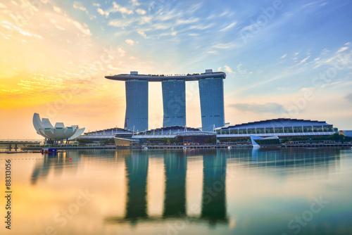 Plagát Singapore Skyline and view of Marina Bay