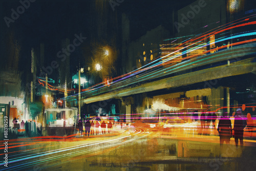 digital painting of city street at night with colorful light trails - 88319259