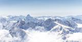 Fototapety Panorama of winter mountains in Caucasus region, Russia,