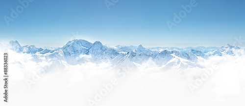Panorama of winter mountains in Caucasus region,Elbrus mountain, Russia