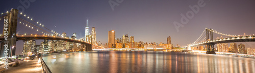 Panoramic View Manhattan Bridge, Brooklyn Bridge and Manhattan Skyline at night - 88341060