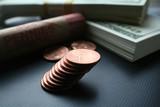 Pennies close up