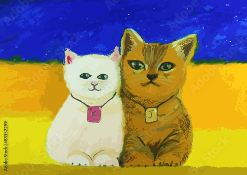 Fototapeta cute cat painting on colorful background