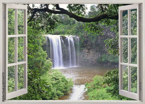Fototapeta Dangar Falls view in open window