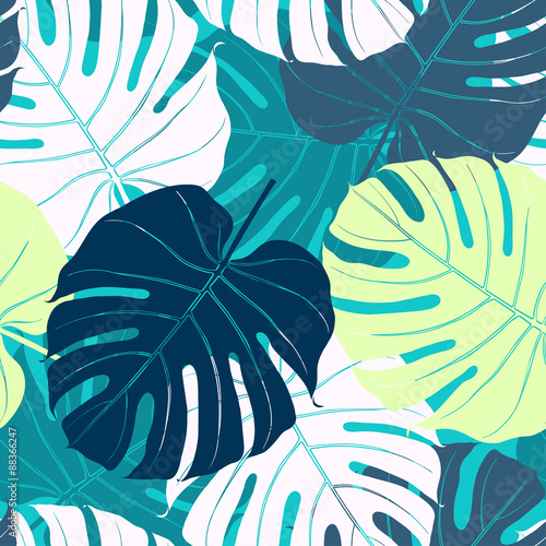 Tapeta Seamless pattern with palm leaves.