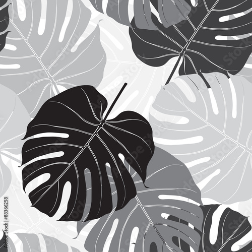 Cotton fabric Seamless pattern with palm leaves. Monochrome background.