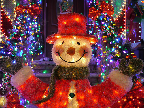 christmas outdoor christmas decorations snowman lights up house in brooklyn new york - New York Christmas Decorations
