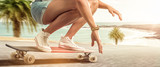 Girl cruising with her longboard - Fine Art prints