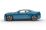 Generic blue sport car on a white background