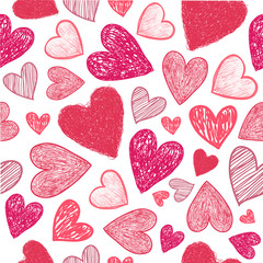Vector seamless hand drawn doodle red hearts background.