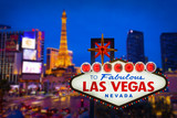 Fototapeta Forest - Welcome to fabulous Las vegas Nevada sign with blur strip road b © littlestocker