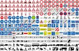 Fototapety Verkehrszeichen StVO Auto Transport Fahrzeug Strasse icon Achtung Warnung PKW LKW